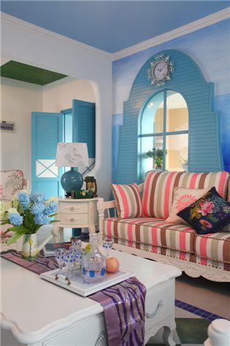 蓝色清新地中海风格客厅装潢案例