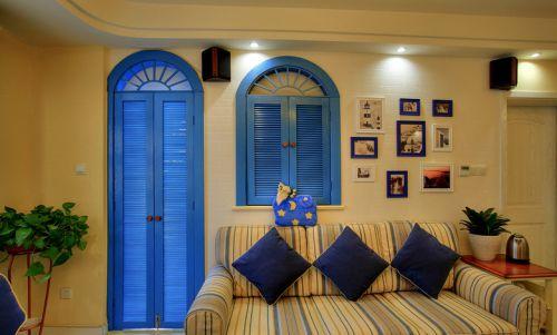 浪漫蓝色地中海风格客厅设计案例