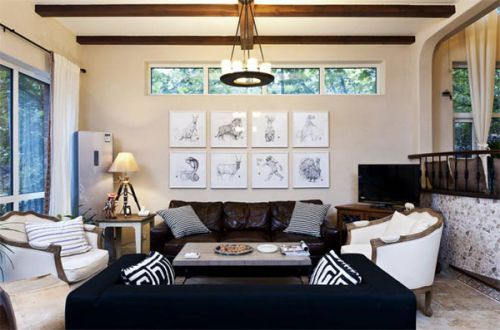 地中海风格清新白色客厅效果图