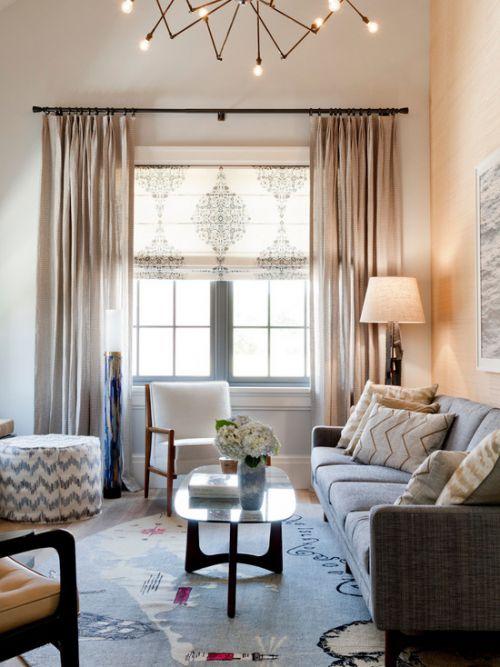 优雅浪漫美式混搭风格客厅窗帘美图