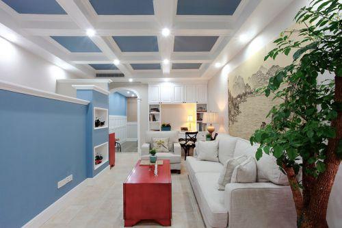 蓝色清爽地中海客厅装修效果图