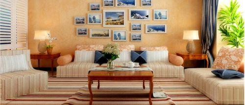 橙色地中海风格客厅设计赏析