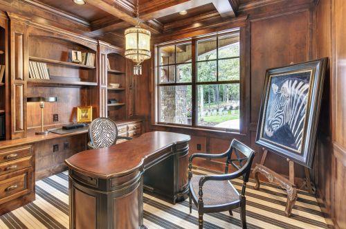 美式风格大气原木色书房效果图设计
