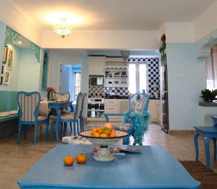 蓝色清新地中海风格客厅装修布置