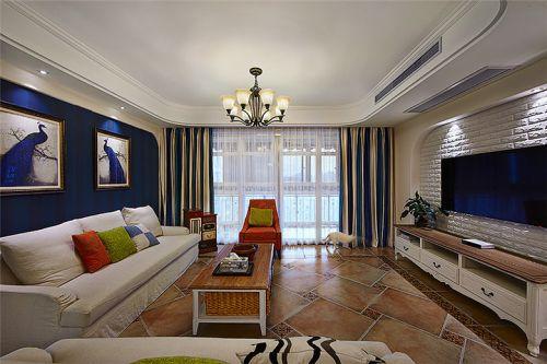 蓝色质感美式风格客厅装修案例