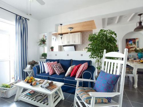 地中海风格浪漫蓝色客厅美图欣赏