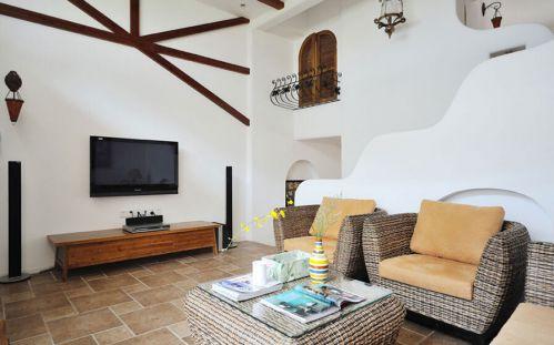 2016地中海白色客厅效果图欣赏