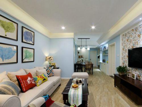 蓝色清新美式风格客厅装修效果图