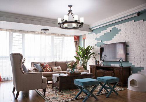 简约美式客厅背景墙设计