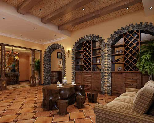 美式城堡式客厅装饰