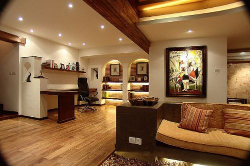 橙色简洁大气美式客厅装修