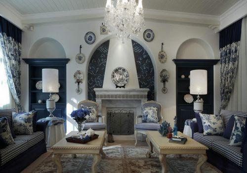 蓝色美式客厅背景墙设计