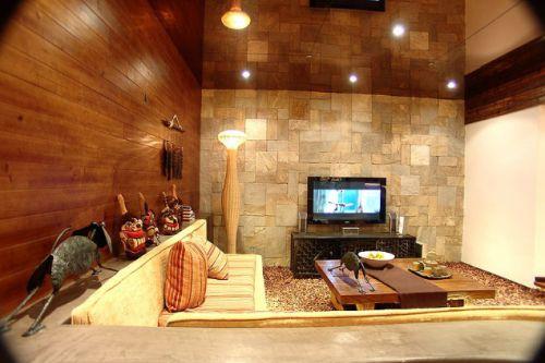 2016美式橙色客厅图片赏析