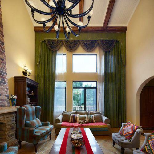 美式风格客厅窗帘效果图欣赏