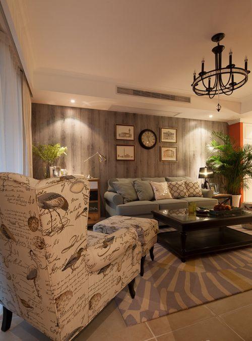 美式风格低调灰色客厅装修设计