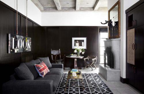 美式风格黑色客厅装修设计