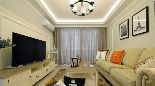美式简约米色小清新客厅装修图片