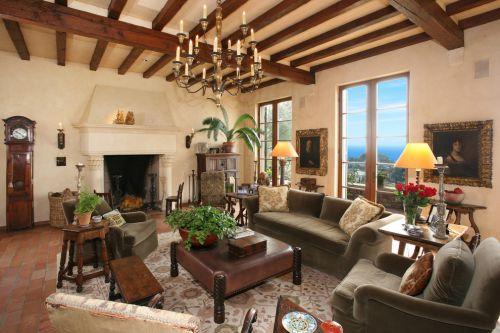 美式风格黄色浪漫客厅效果图欣赏