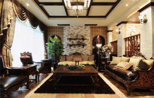 米色雅致美式风格客厅装潢