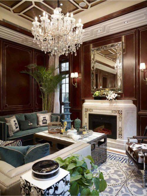 优雅复古美式客厅温馨装潢