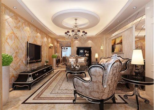 美式风格米色质感客厅装修图