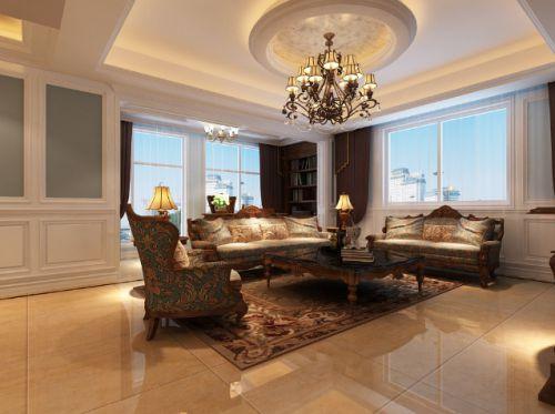 米色轻奢美式风格客厅装修欣赏
