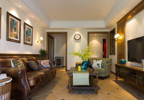 美式褐色客厅实景