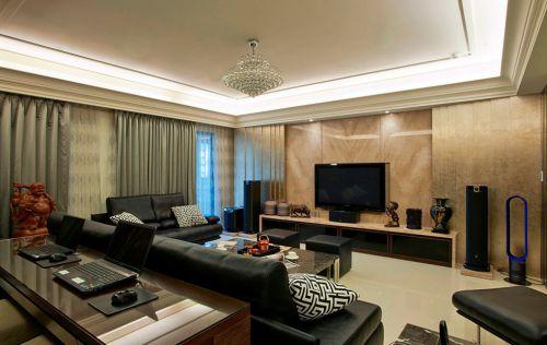 黄色质感美式风格客厅装潢设计