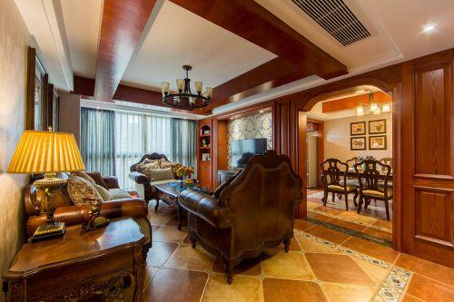 美式风格大气橙色客厅装修布置