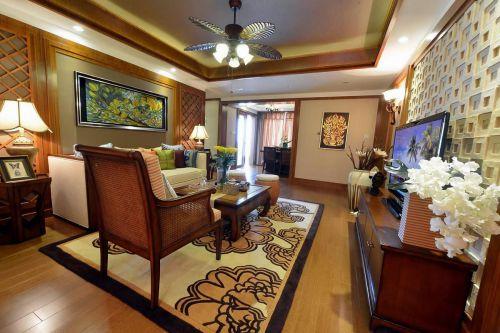 美式风格时尚橙色客厅装潢设计