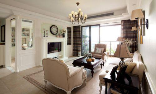 米色美式风格素雅客厅效果图赏析