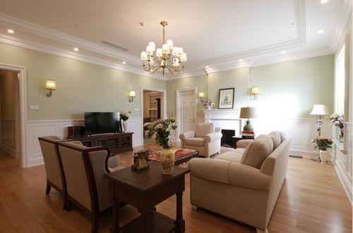 美式风格大气米色客厅效果图设计