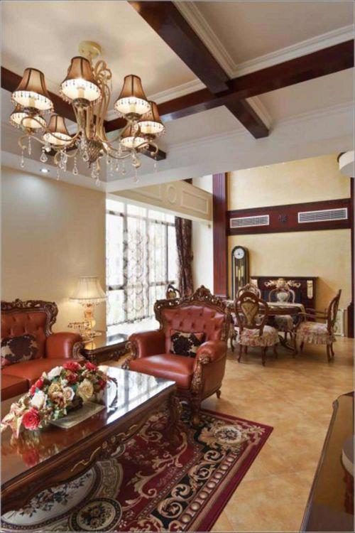 华丽沉稳美式风格客厅设计图
