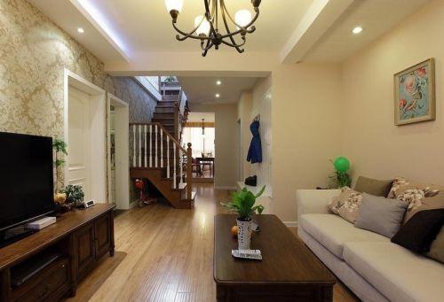 黄色时尚雅丽美式风格客厅设计装潢