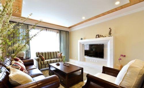 米色美式风格温馨客厅设计案例