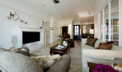 大户型美式白色客厅装修案例