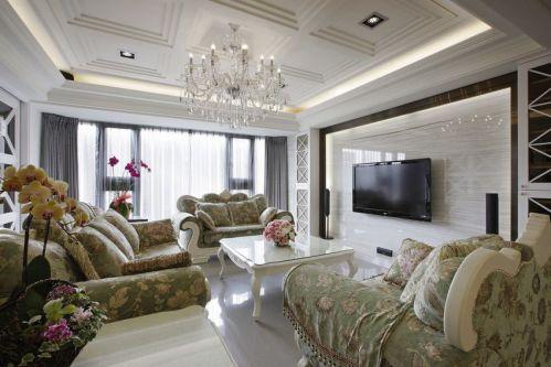 清新绿色美式风格客厅设计图