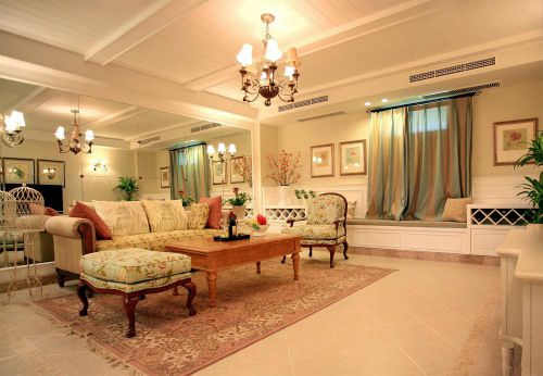 米色美式风格客厅飘窗装潢