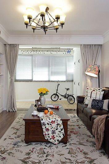 美式高大客厅窗帘