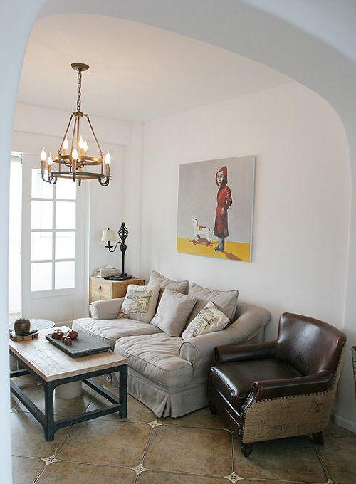 优雅文艺自然米色小美式风格客厅装潢案例
