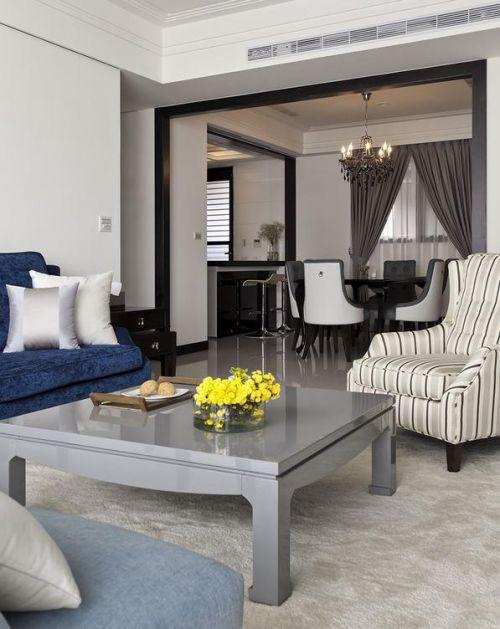 美式白色客厅装潢布置