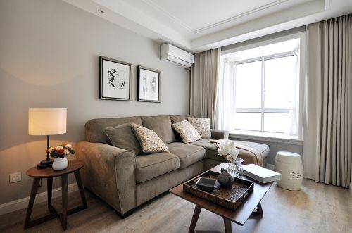 米色浪漫雅致美式风格客厅照片墙装修案例
