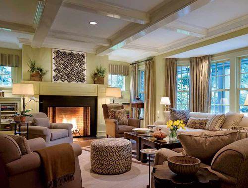 美式大气温馨客厅布置