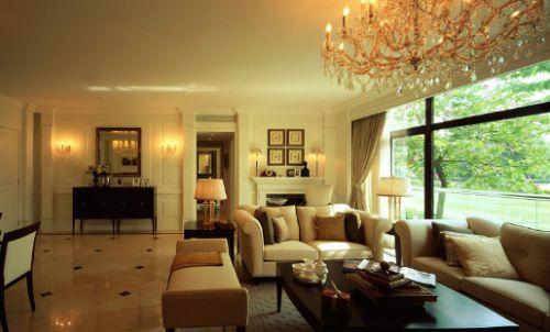 美式风格黄色客厅飘窗效果图设计