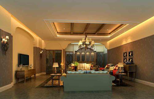 美式低调内敛客厅装潢设计