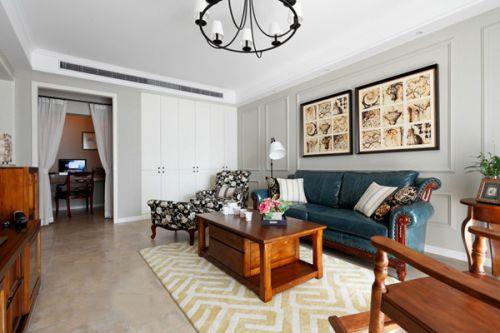 白色美式风格客厅设计装潢