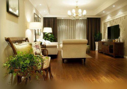 美式风格米色客厅装修美图欣赏