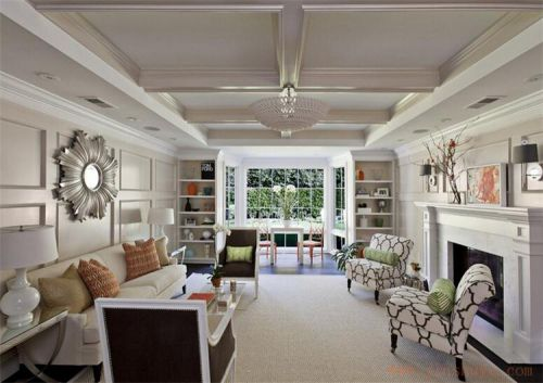 美式风格大气白色客厅装修布置