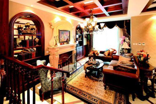 华丽低奢红色美式风格客厅装潢设计