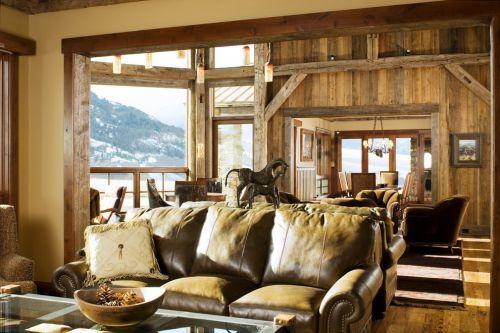 美式风格大气原木色客厅图片赏析